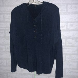 Eileen fisher Cozy Hooded Henley Poncho Top PM